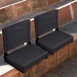 2 Pcs Portable Folding Stadium Seat Back Chair Bum Cushion P