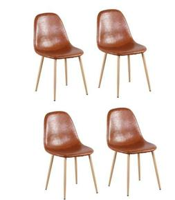 Set of 4  Dining Chairs in PU Leather Cushion Seat and Metal