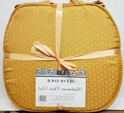 """Set of 4 KITCHEN BASKETWEAVE CHAIR PADS w/ties,15"""" x 15"""", GO"""