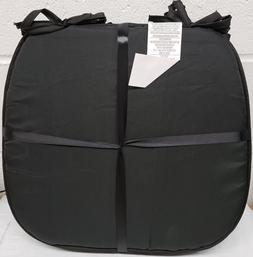"""Set of 4 KITCHEN CHAIR PADS CUSHIONS w/strings, BLACK, 15"""" x"""