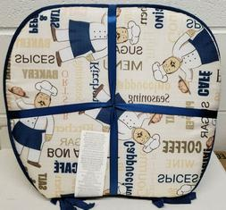 """SET OF 4 KITCHEN DELUXE CHAIR PADS w/blue ties,15x15"""", FAT C"""