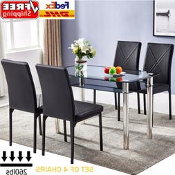 Set of 4 Leather Dining Chairs Living Room Kitchen High Back