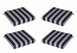 Set of 4 Outdoor Navy Blue White Stripe Patio Chair Seat Cus