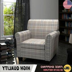 Sofa Chair Armchair Fabric Cream Seat Cushion Home Wooden La