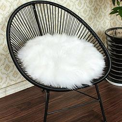 Junovo Premium Soft Round Faux Fur Sheepskin Seat Cushion Ch