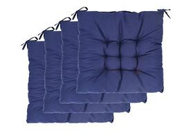 Elfjoy Solid Square Tufted Chair Pads Set of 4 Indoor/Outdoo