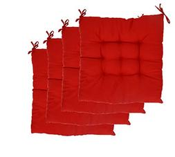 ELFJOY Solid Square Tufted Chair Pads Set of 4 Indoor Cushio