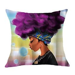 "Xinhuaya 1818"" Square Pillow Cover,African Women with Purple"