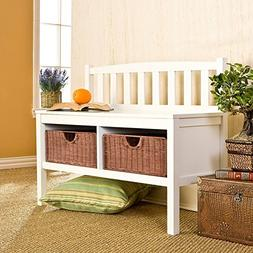 Storage Bench with Rattan Baskets And Seating Capacity of 2