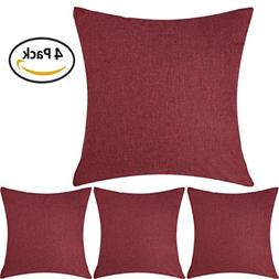 DEZENE Stylish Linen Throw Pillow Covers - Set of 4 - Soft a