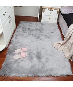 Super Soft Faux Fur Sheepskin Fluffy Area Rug Shaggy Thick C
