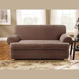 SureFit SF37432 Stretch Pinstripe T Cushion Loveseat, Chocol