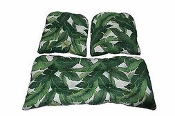 Swaying Palm Green Outdoor Cushions for Wicker Loveseat & Ch