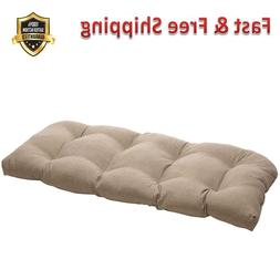Taupe Textured Wicker Loveseat Cushion Indoor Outdoor Polyes
