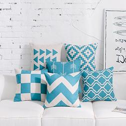 DEZENE Teal Throw Pillow Covers for Couch - Set of 6 - Decor