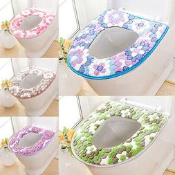Toilet Bathroom Cover Seat Flower Pattern Soft Warm Lid Pad