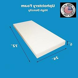 "FoamWorld Upholstery Foam Cushion High Density, 6"" H x 24"" W"