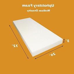 "Mybecca Upholstery Foam Standard Cushion , 3"" H X 24"" W X 72"