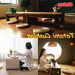 US 40cm×6cm Straw Floor Round Pouf Pillow Yoga Seat Mat Tat