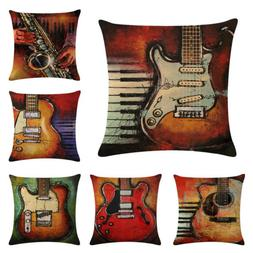Vintage Guitar Throw Pillow Case Linen Chair Waist and Seat
