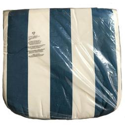 Sunbrella White & Blue Striped Indoor/Outdoor Seat Cushion