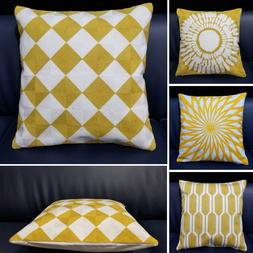 Yellow Embroidered <font><b>Cushion</b></font> Cover Geometr