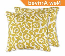 "Yellow Throw Pillow Covers 18x18"",  2 Pack, - Indoor Flora D"